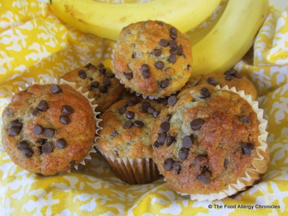 Dairy, Egg, Soy and Peanut/Tree Nut free Chocolate Chip Banana Muffins
