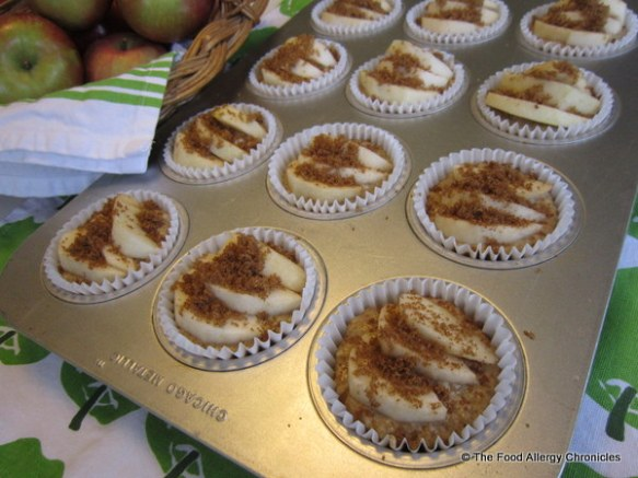 Dairy, Egg, Soy and Peanut/Tree Nut Free Apple Cinnamon Muffins ready for the oven