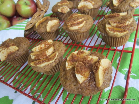 Dairy, Egg, Soy and Peanut/Tree Nut Free Apple Muffins cooling on cooling rack