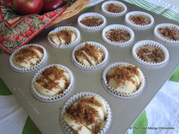 Revised Dairy, Egg, Soy and Peanut/Tree Nut Free Apple Cinnamon Muffins ready for the oven