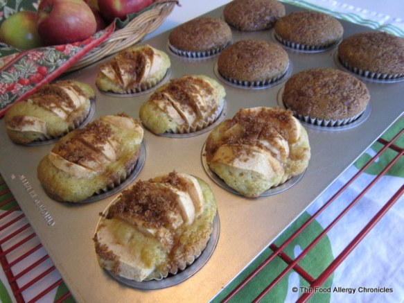 Revised Dairy, Egg, Soy and Peanut/Tree Nut Free Apple Cinnamon Muffins cooling