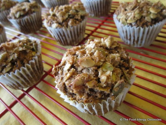 Dairy, Egg, Soy and Peanut/Tree Nut Free Oatmeal Pumpkin Cranberry Muffins cooling