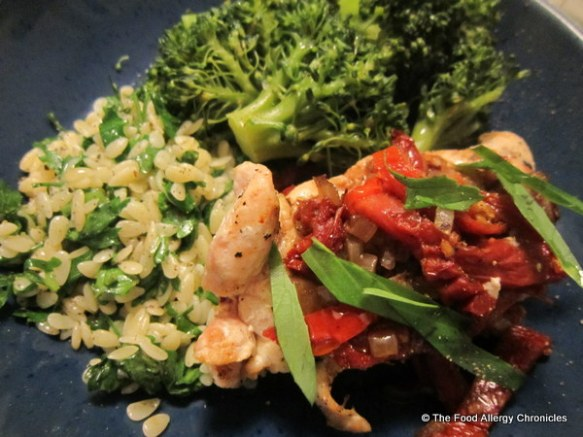 Tuscan Chicken, Parsley Orzo and steamed brocolli