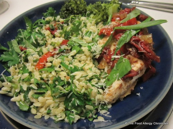 Andy's plate of Tuscan Chicken with Parsley Orzo
