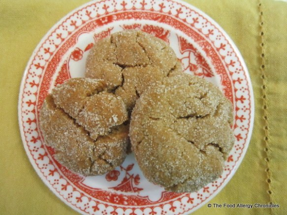 A plate of Dairy, Egg, Soy and Peanut/Tree Nut Free Gingerbread Crinkles