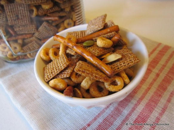 A bowl of Peanut/Tree Nut, Mustard and Sesame Free Cajun Snack Mix