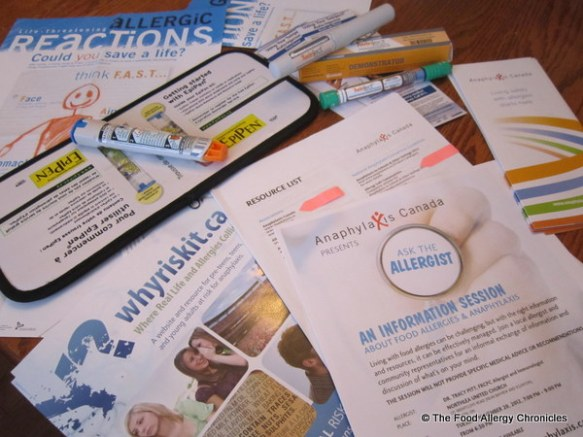 Package put together by Anaphylaxis Canada