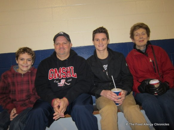 Matthew, Andy, Michael and Nana at Lukas's hockey tournament