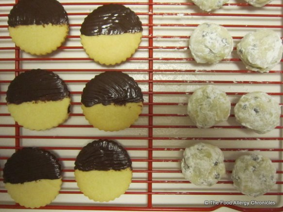 Drying and cooling Dairy, Egg, Soy and Peanut/Tree Nut Free Sugar Cookies and Chocolate Chip Snowball Cookies