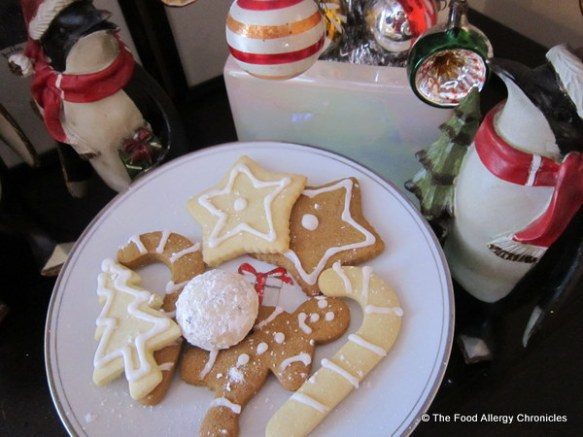 Dairy, Egg, Soy and Peanut/Tree Nut Free Gingerbread, Sugar Cookies and Chocolate Chip Snowball Cookies on a plate