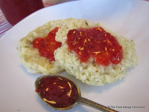 A Dairy, Egg, Soy and Peanut/Tree Nut Free English Muffin with homemade Strawberry Jam