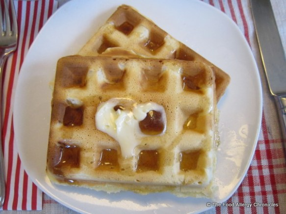 Dairy, Egg, Soy and Peanut/Tree Nut Free Waffles topped with Vegan Becel Margarine and pure maple syrup ready to enjoy