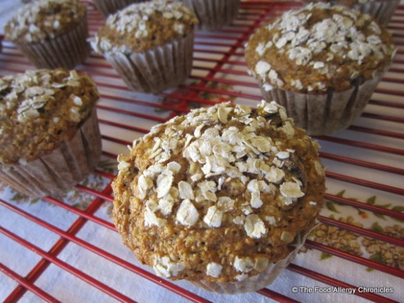 Dairy, Egg, Soy and Peanut/Tree Nut Free Honey Oat Muffins cooling