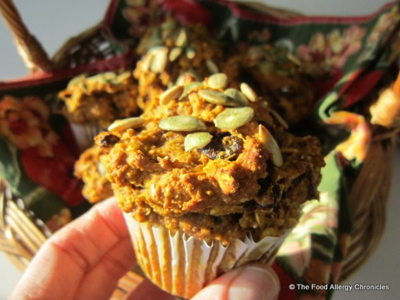A Hearty Dairy, Egg, Soy and Peannut/Tree Nut Free Wholewheat Pumpkin Oatmeal Muffin