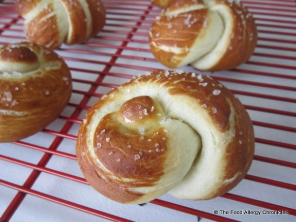 Dairy, Egg, Soy and Peanut/Tree Nut Free Pretzel Knot Buns cooling