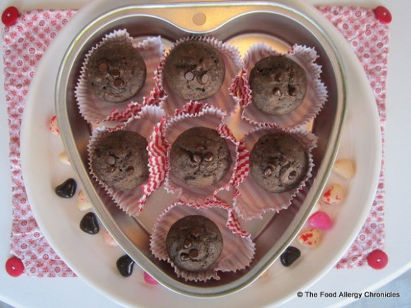 Chocolate, Chocolate Chip Mini Muffins dressed up for Valentine's Day