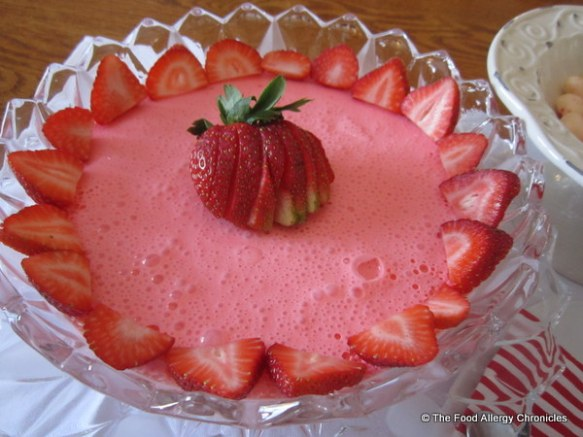 Dairy Free Strawberry Mousse topped with fresh strawberries