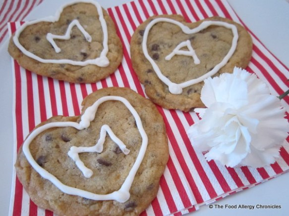 Dairy, Egg, Soy and Peanut/Tree Nut Free Chocolate Chip Heart Cookies for Valentine's Day