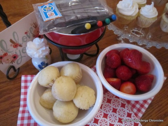 Dairy, Egg,Soy and Peanut/Tree Nut Free Mini Vanilla Cupcakes and fresh strawberries with Dairy and Peanut/Tree Nut Free Chocolate Fondue