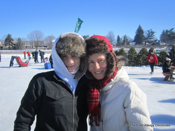 Michael and I on the Rideau Canal with our matching winter hats