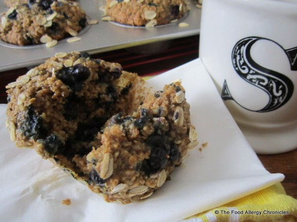 Enjoying a Dairy, Egg, Soy and Peanut/Tree Nut Free Oatmeal Blueberry Muffin