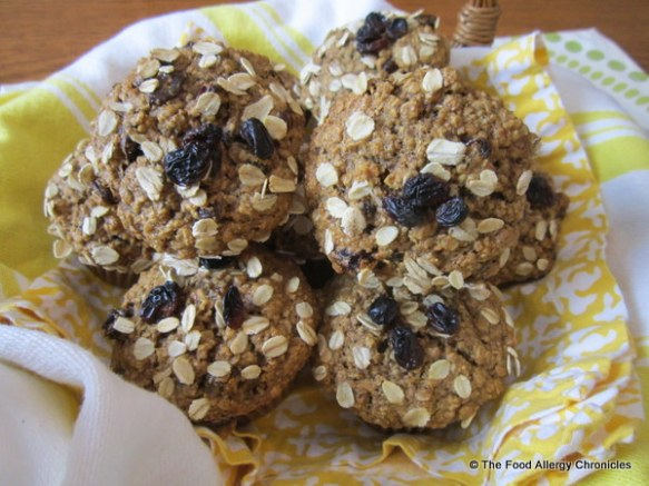 Dairy, Egg, Soy and Peanut/Tree Nut Free Oatmeal Raisin Muffins in a basket
