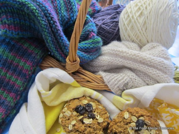 Completed hat and scarf combo, my finished knitted hat and some Dairy, Egg, Soy and Peanut/Tree Nut Free Oatmeal Raisin Muffins