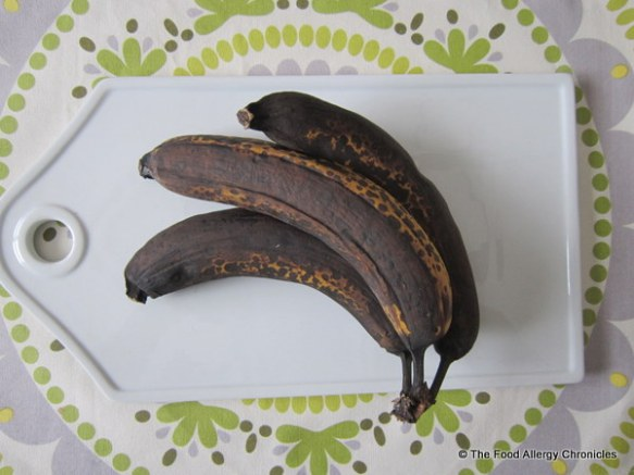 Three perfectly ripened bananas for Dairy, Egg, Soy and Peanut/Tree Nut Free Banana Bread