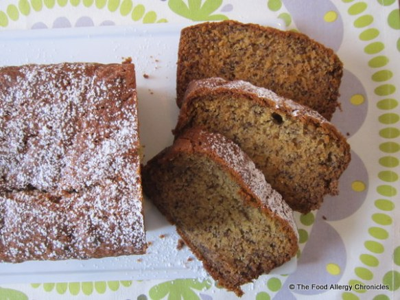 Dairy, Egg, Soy and Peanut/Tree Nut Free Banana Bread sliced on a platter