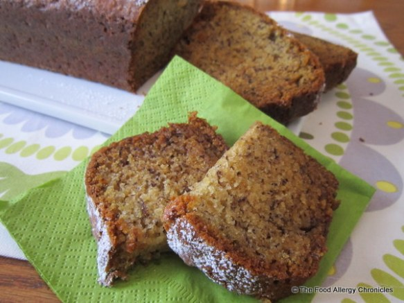 Dairy, Egg, Soy and Peanut/Tree Nut Free Banana Bread sliced and ready to enjoy