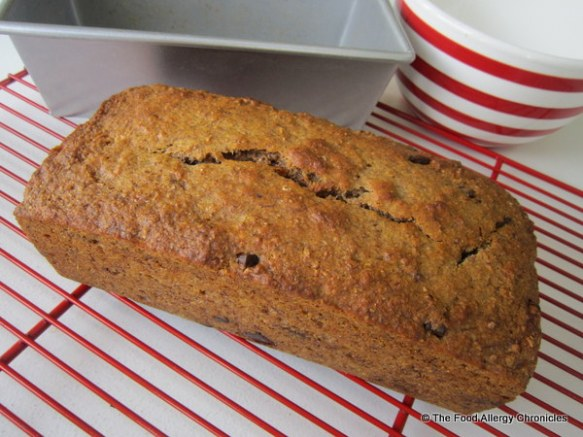 Dairy, Egg, Soy and Peanut/Tree Nut Free Chocolate Chunk Wholewheat Banana Bread cooling