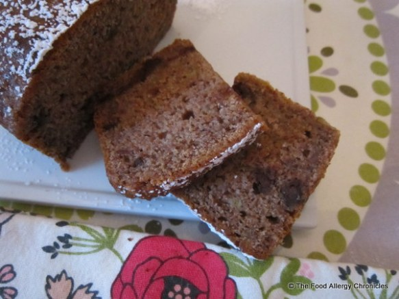 Slices of Dairy, Egg, Soy and Peanut/Tree Nut Free Chocolate Chunk Wholewheat Banana Bread ready to enjoy