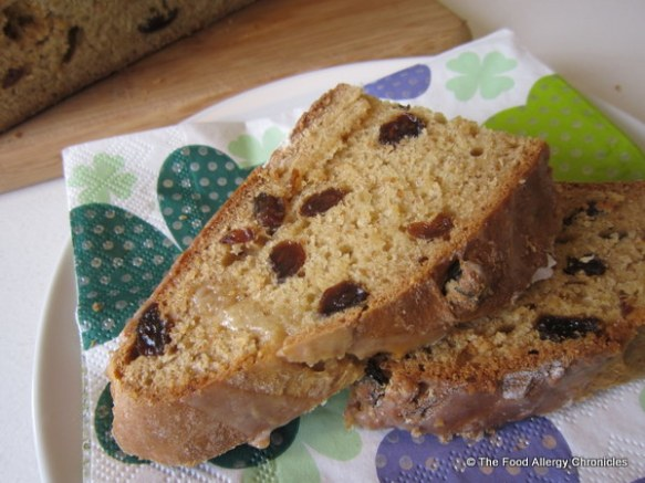 Sliced of Dairy, Soy and Peanut/Tree Nut Free Raisin Irish Soda Bread