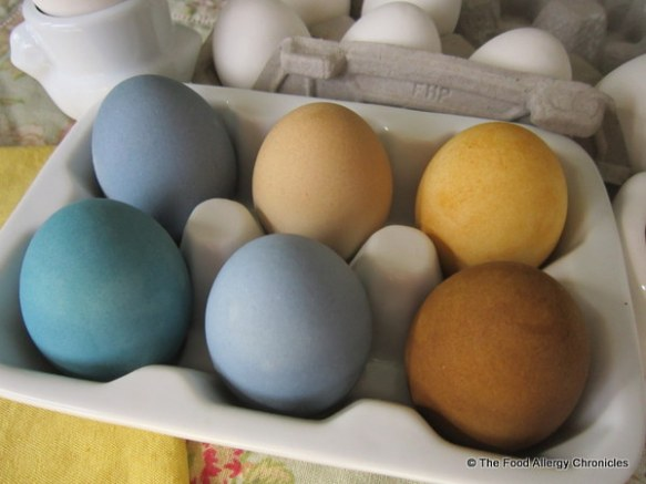 Eggnots coloured with natural-dyes