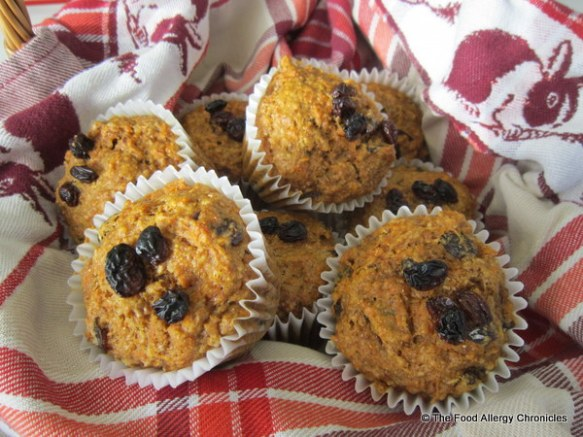 A basket of Dairy, Egg, Soy and Peanut/Tree Nut Free Wholewheat Carrot Raisin Muffins