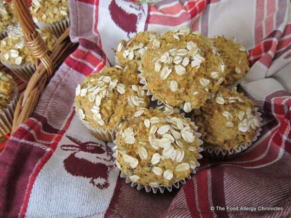 A basket of Dairy, Egg, Soy and Peanut/Tree Nut Free Oatmeal Carrot Muffins