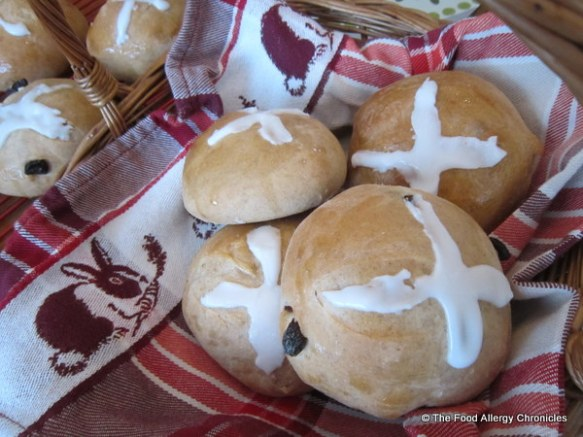 A basket of Dairy, Egg, Soy and Peanut/Tree Nut Free Hot Cross Buns