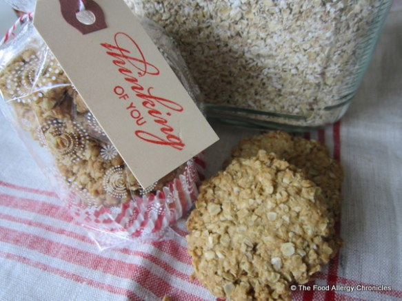 A package of Aunt Mary's Dairy, Egg, Soy and Peanut/Tree Nut Free Scottish Oatmeal 'Flapjack' Cookies for my neighbour