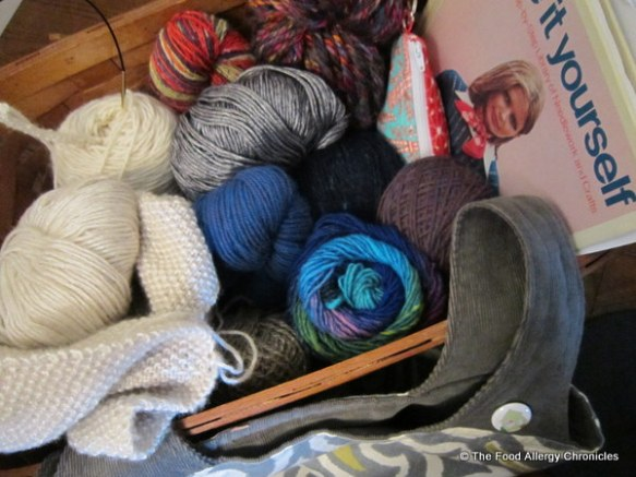 Basket full of wool for my knitting projects