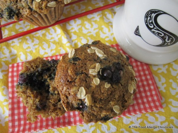 Enjoying a Dairy, Egg, Soy and Peanut/Tree Nut Free Orange Blueberry 3 Grain Muffin
