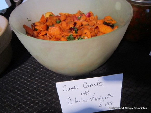 A bowl of Cumin Carrots with Cilantro Vinaigrette served at the Cookbook Store at the launch of Jennifer Bain's Toronto Star Cookbook