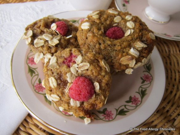 A plate of Dairy, Egg, Soy and Peanut/Tree Nut Free Oatmeal Lemon Raspberry Muffins
