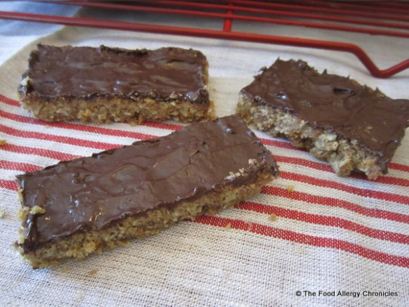 Dairy, Egg, Soy and Peanut/Tree Nut Free Chocolate Covered Oatmeal Bars