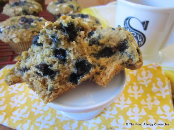 Enjoying a Dairy, Egg, Soy and Peanut/Tree Nut Free Oatmeal Wild Blueberry Muffin with a cup of tea