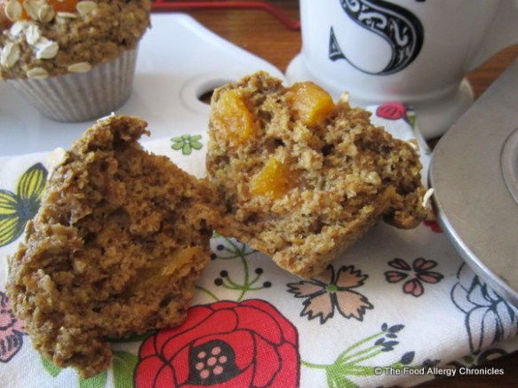 Enjoying my Dairy, Egg, Soy and Peanut/Tree Nut Free Apricot Oatmeal Muffin