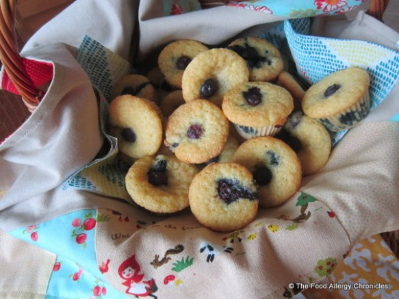 A basket of Dairy, Egg, Soy and Peanut/Tree Nut Free Lemon Blueberry Cornmeal Muffins