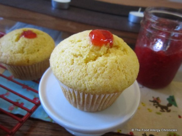 A Dairy, Egg, Soy and Peanut/Tree Nut Free Homemade Strawberry Jam Filled Lemon Cornmeal Muffin
