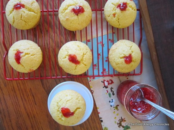 Dairy, Egg, Soy and Peanut/Tree Nut Free Homemade Strawberry Jam Filled Lemon Cornmeal Muffins