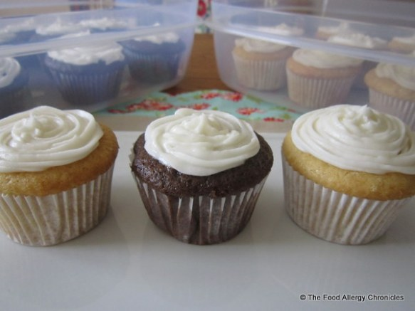 Dairy, Egg, Soy and Peanut/Tree Nut Free Chocolate and Vanilla Cupcakes