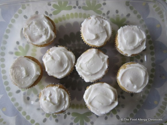 Dairy, Egg, Soy and Peanut/Tree Nut Free Vanilla Cupcakes topped with Dairy Free Vanilla Icing